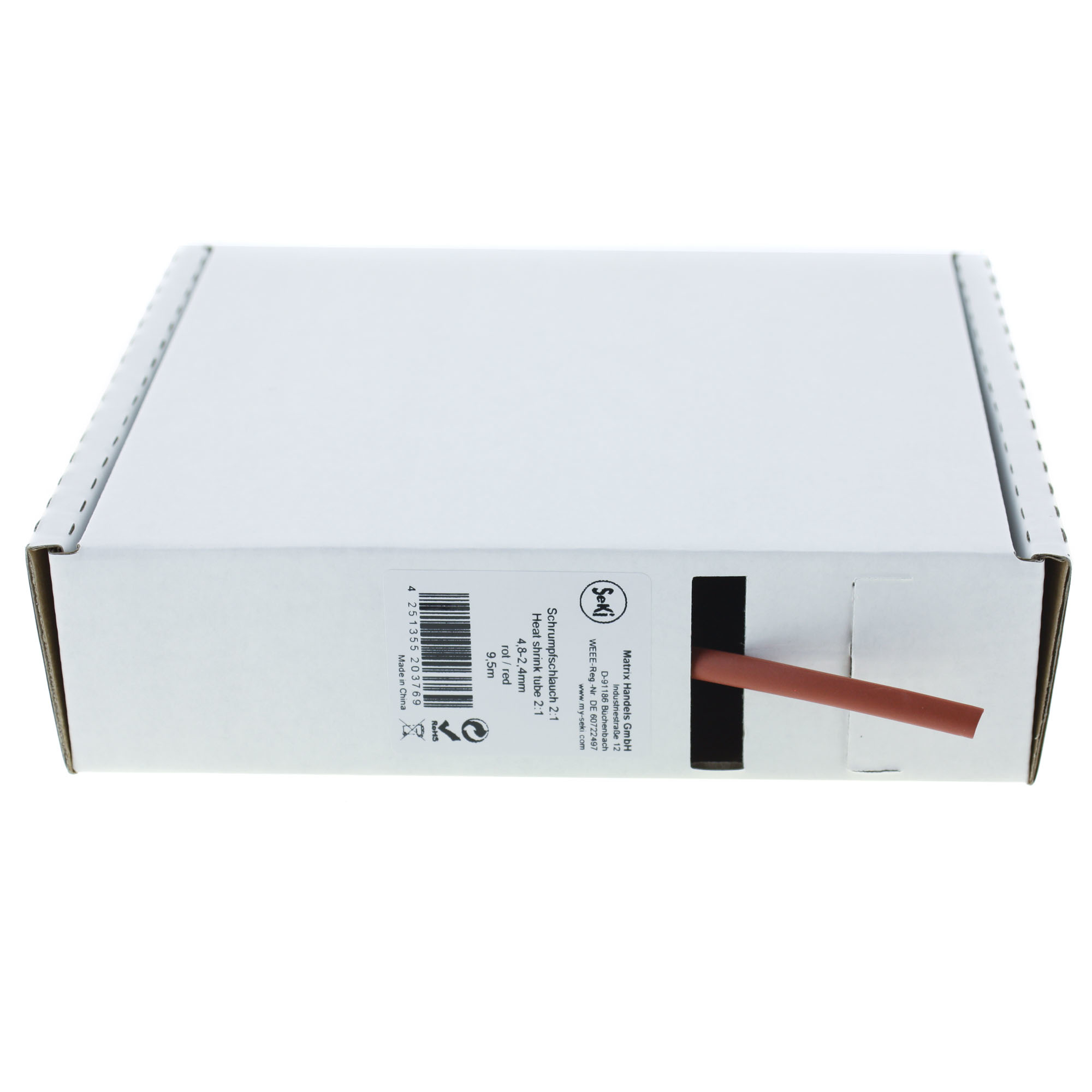 Heat shrink tube 2:1 / 4,8-2,4mm, 9,5m, red