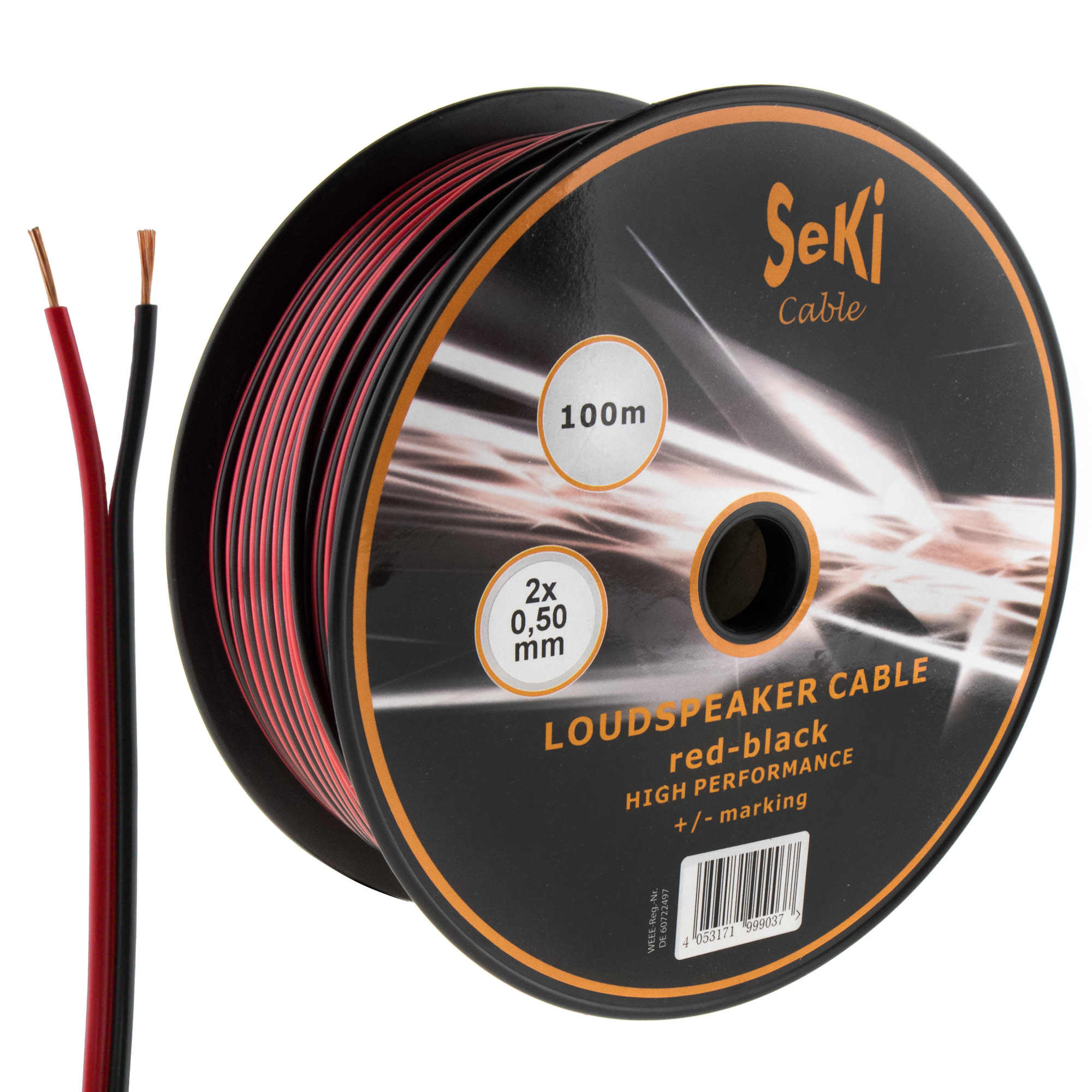 Loudspeaker cable red-black 100m 0.50mm