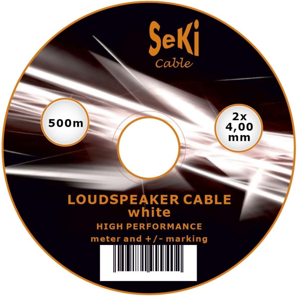 Loudspeaker cable white 500m 4.00mm