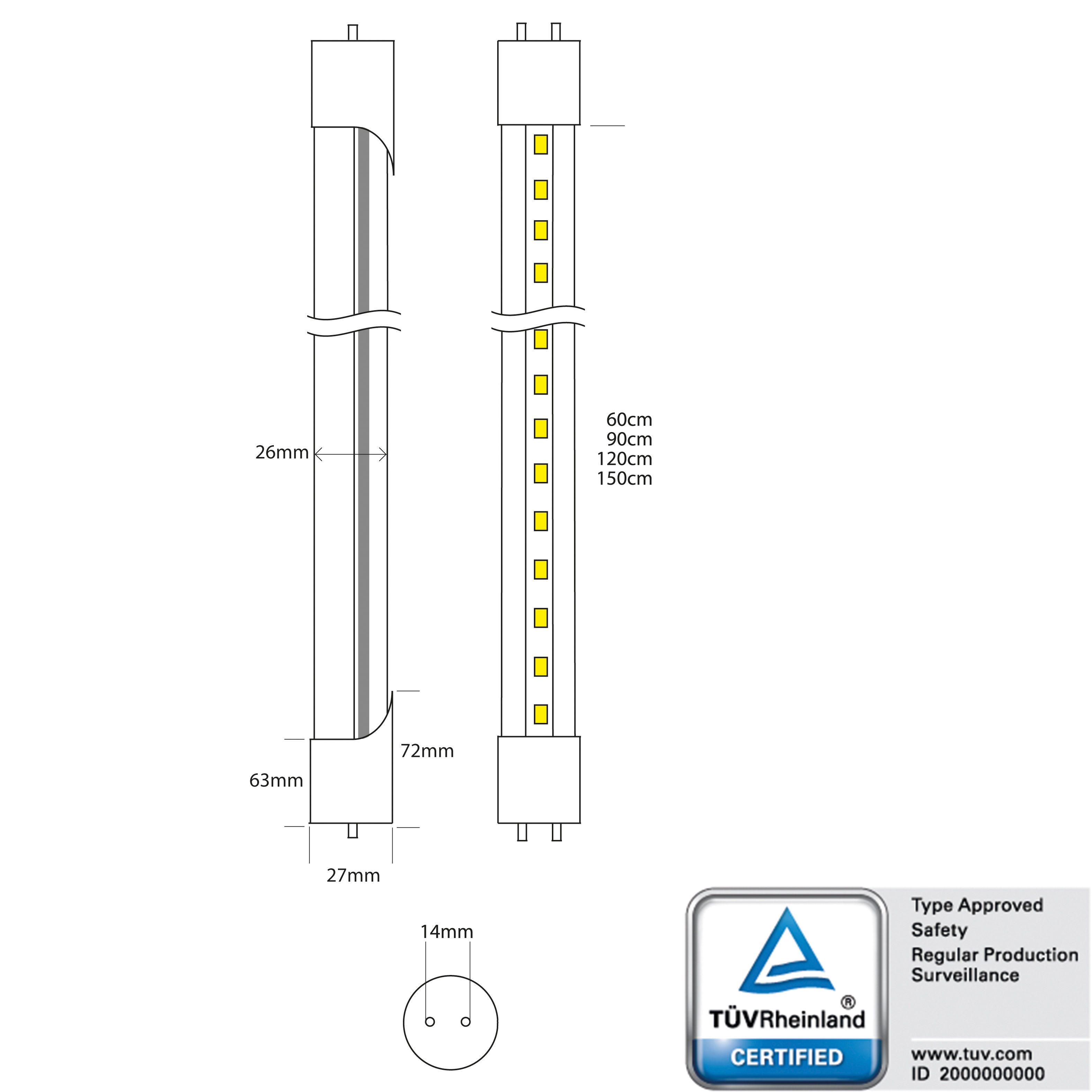 Led Tube 120cm, 18W, warm white, clear