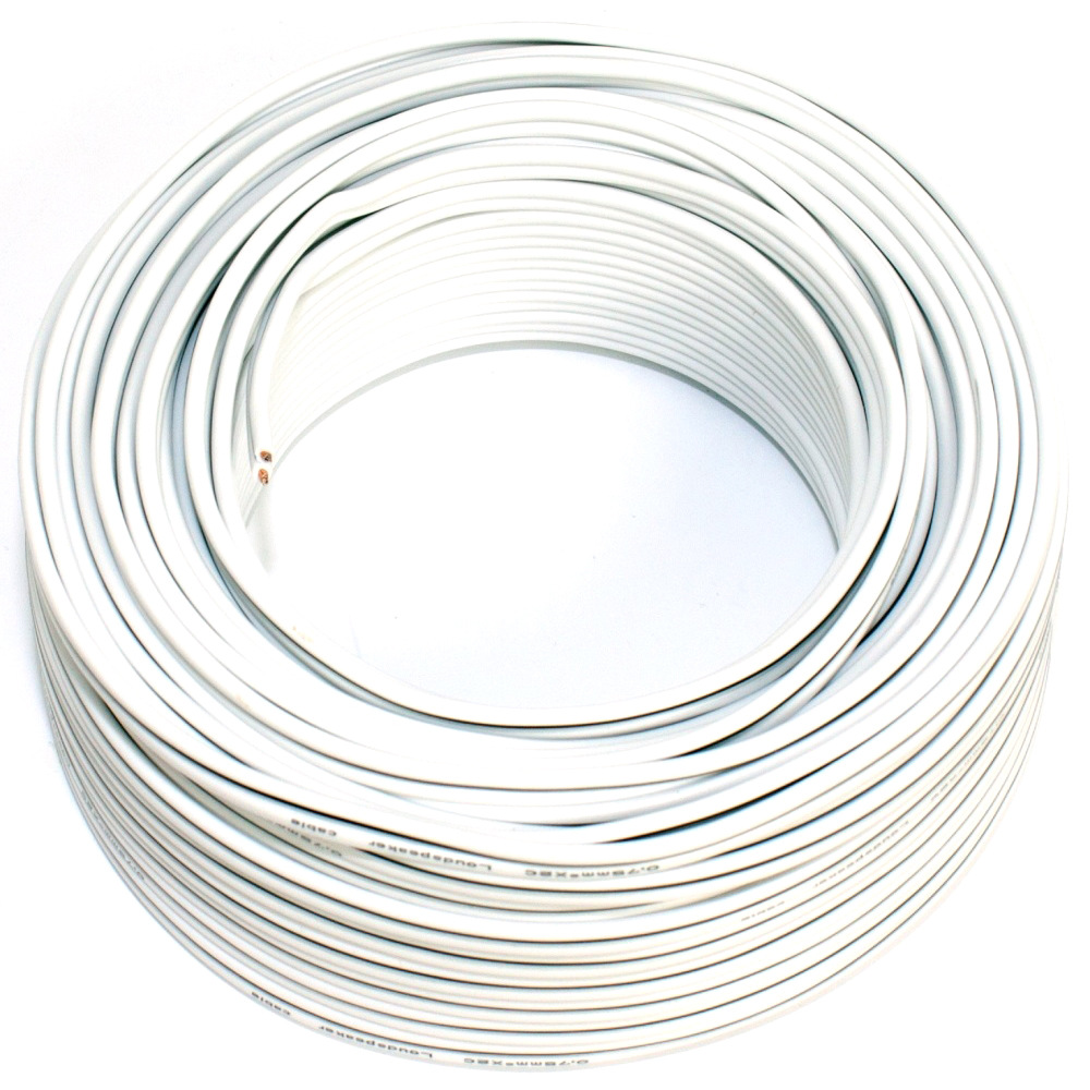 Loudspeaker cable white 25m 0.75mm OFC