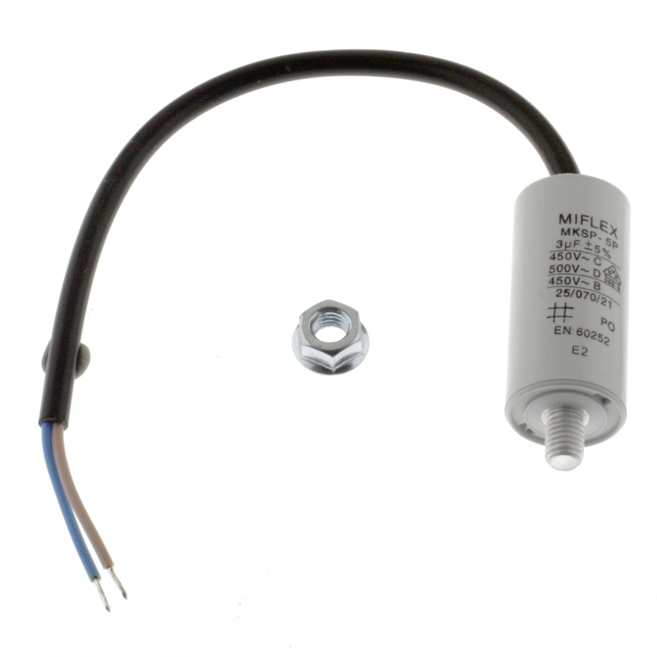 Motor Capacitor 3uF-450V, 25x53mm, cable connection
