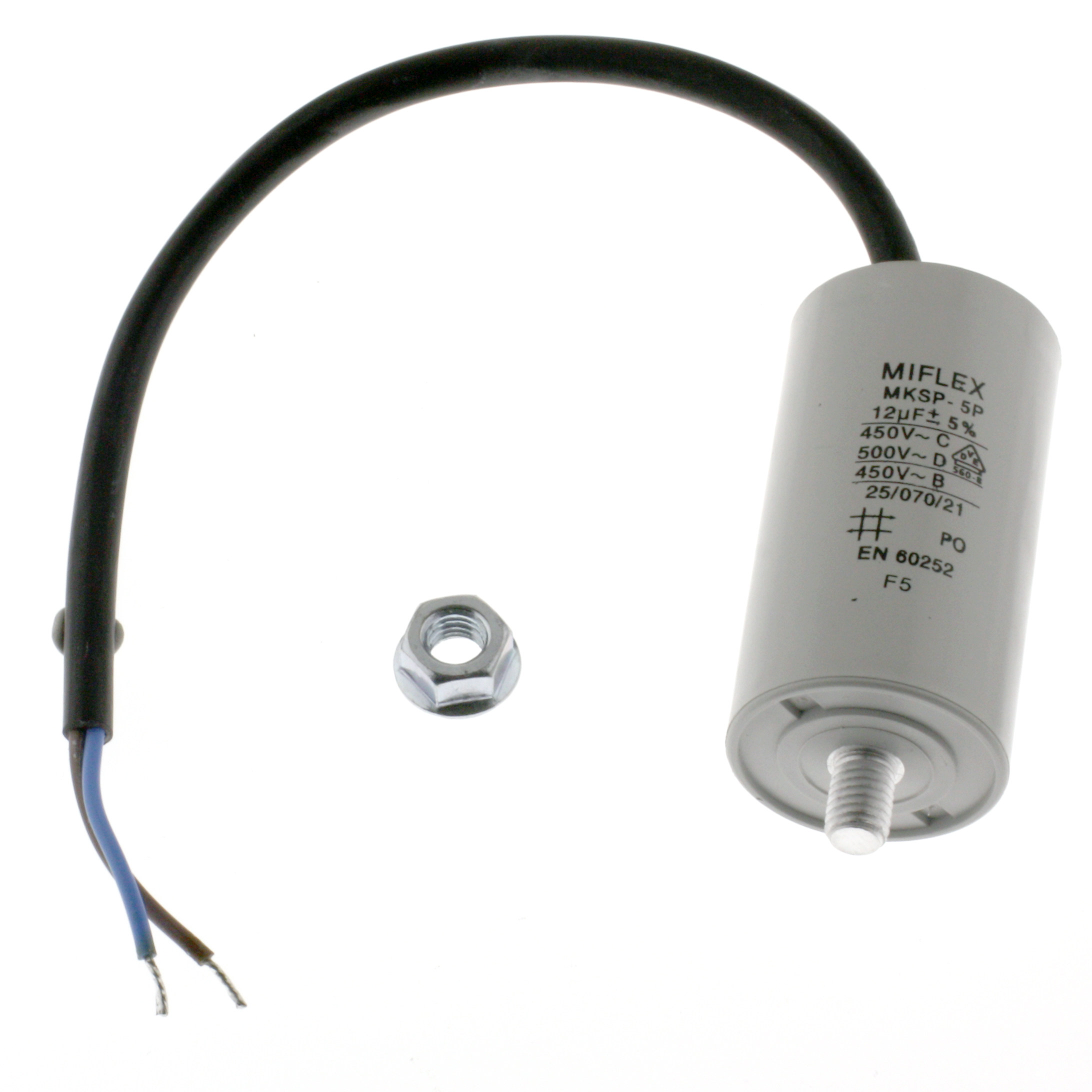 Motor Capacitor 12uF-450V, 35x65mm, cable connection