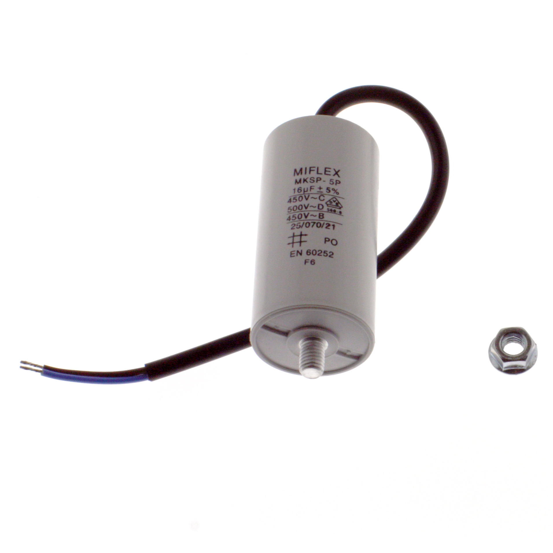 Motor Capacitor 16uF-450V, 40x78mm, cable connection