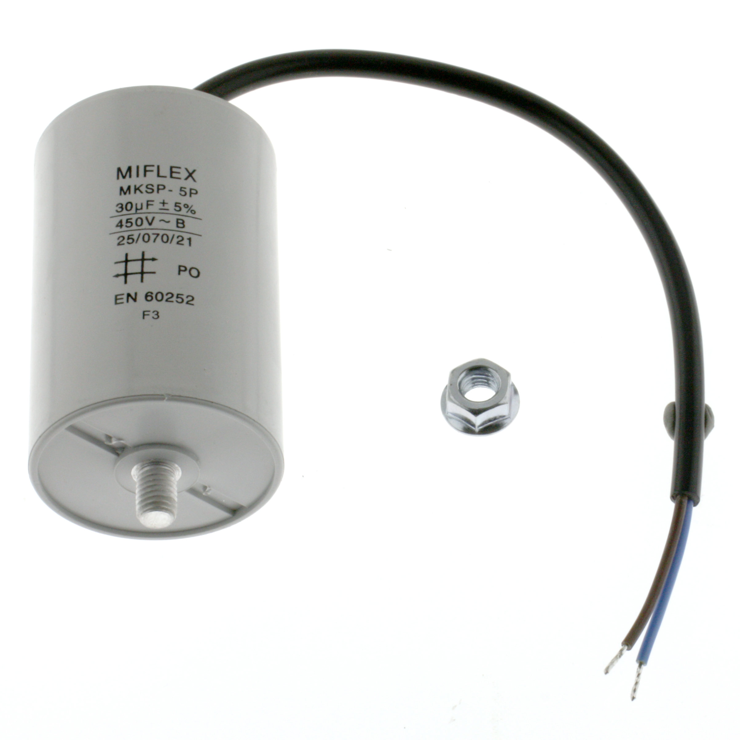 Motor Capacitor 30uF-450V, 50x78mm, cable connection