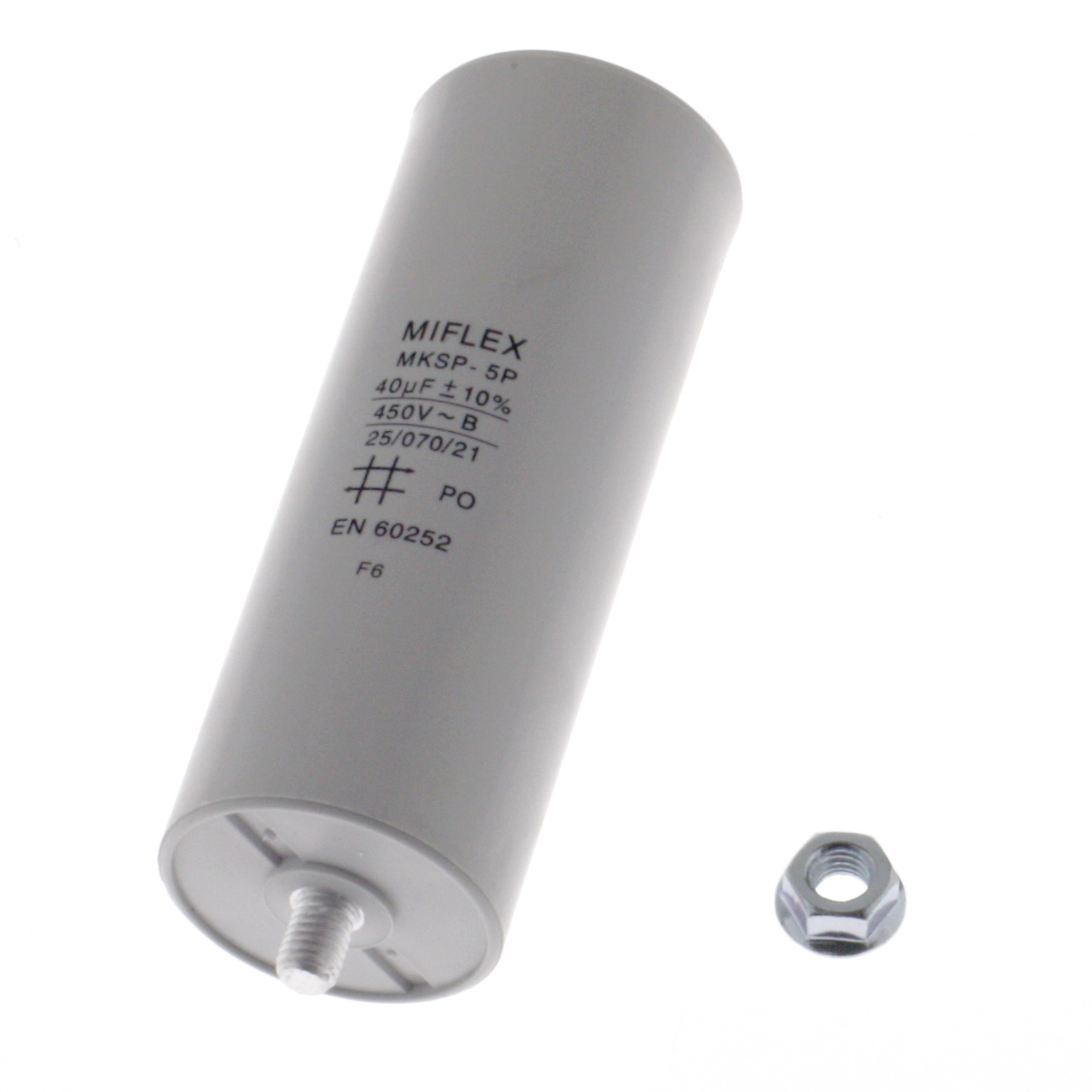 Motor Capacitor 40uF-450V, 45x119mm, flat connection
