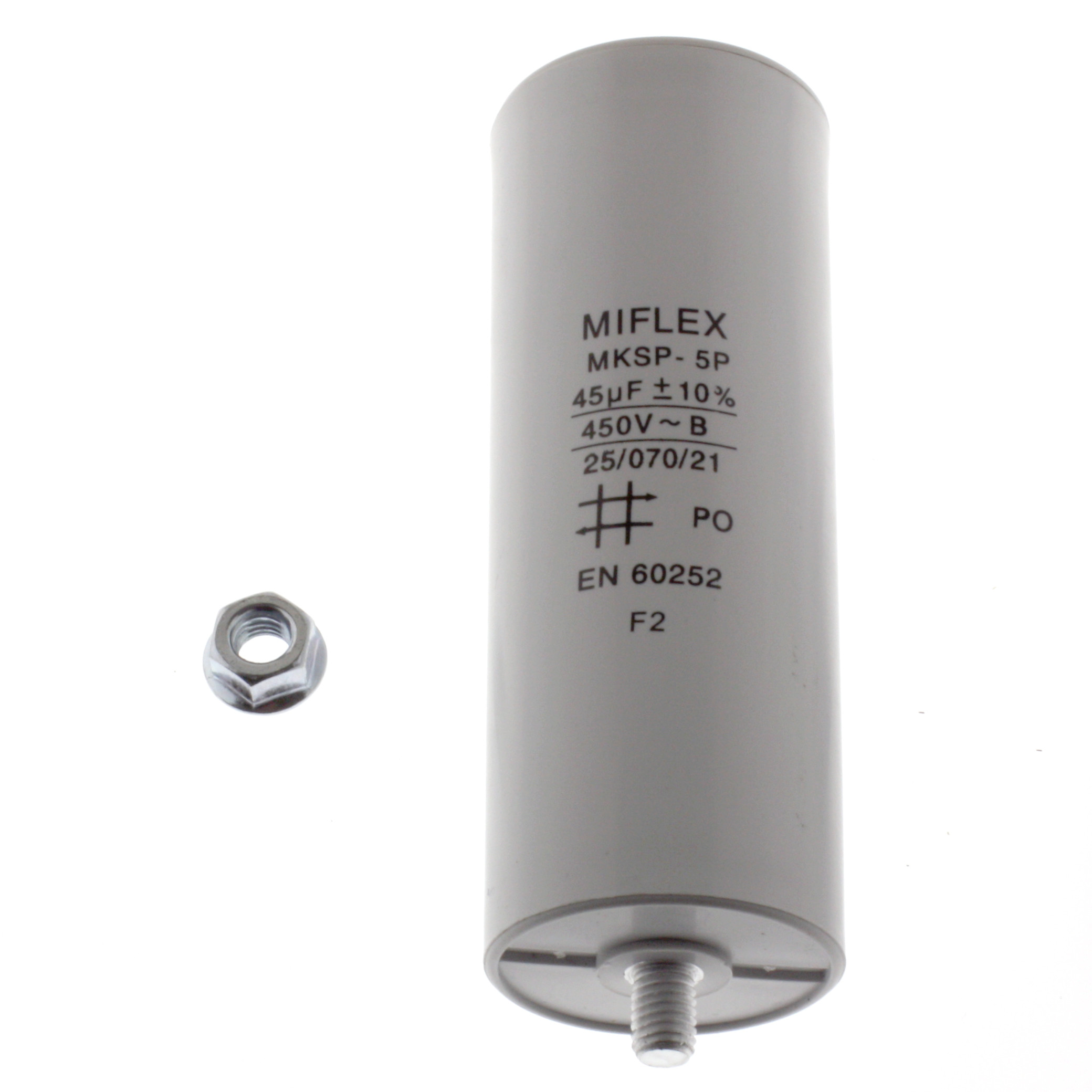 Motor Capacitor 45uF-450V, 45x119mm, flat connection