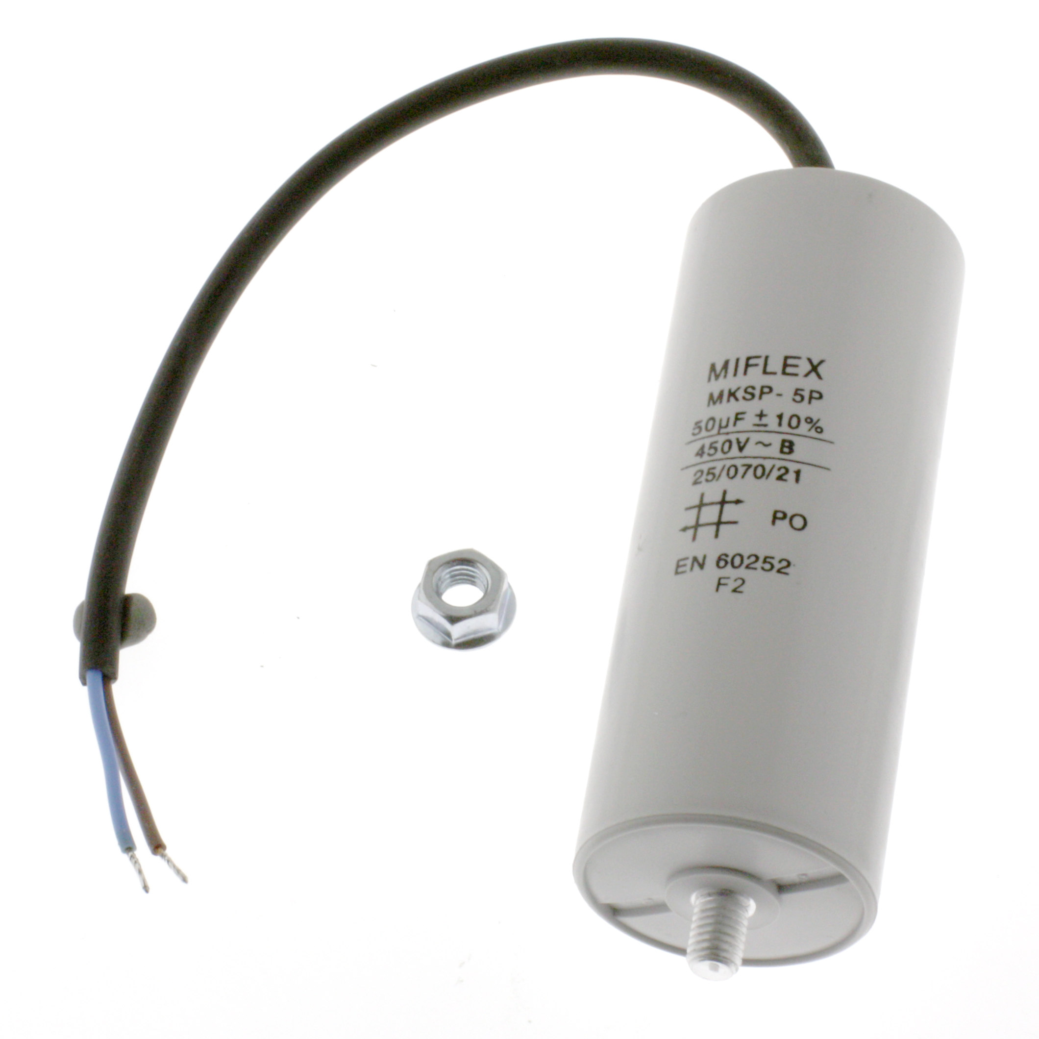 Motor Capacitor 50uF-450V, 45x114mm, cable connection