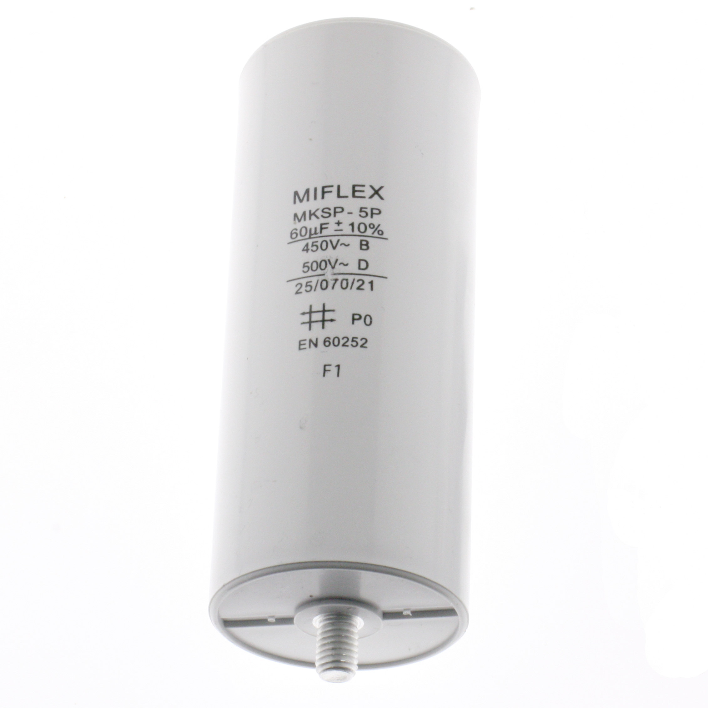 Motor Capacitor 60uF-450V, 50x119mm, flat connection