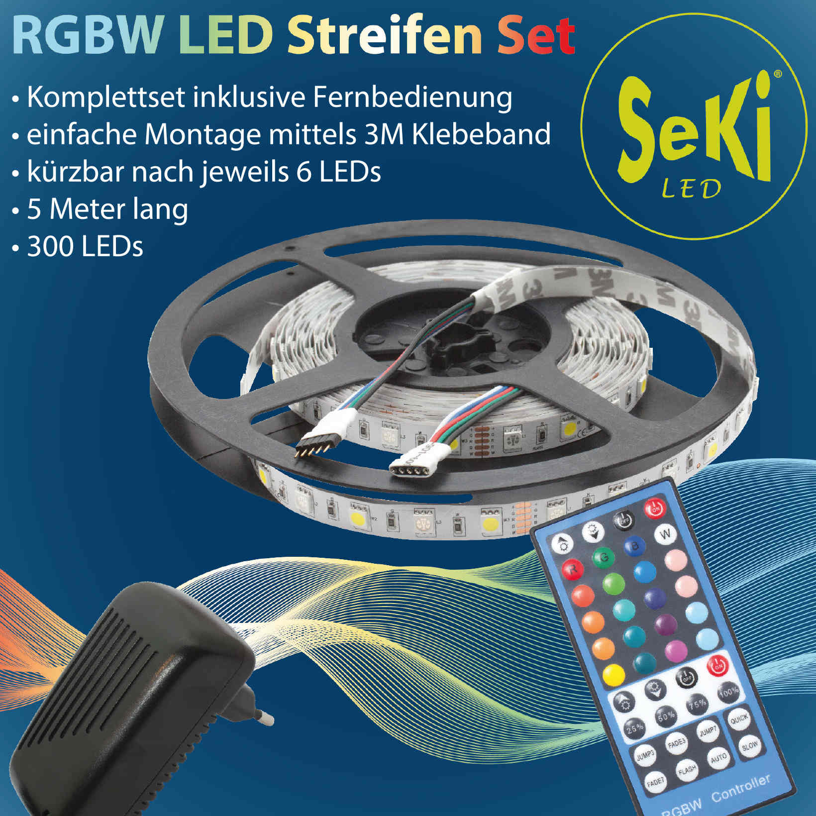 LED RGBW Set (RGBW 300LEDs, Controller, Power Supply)
