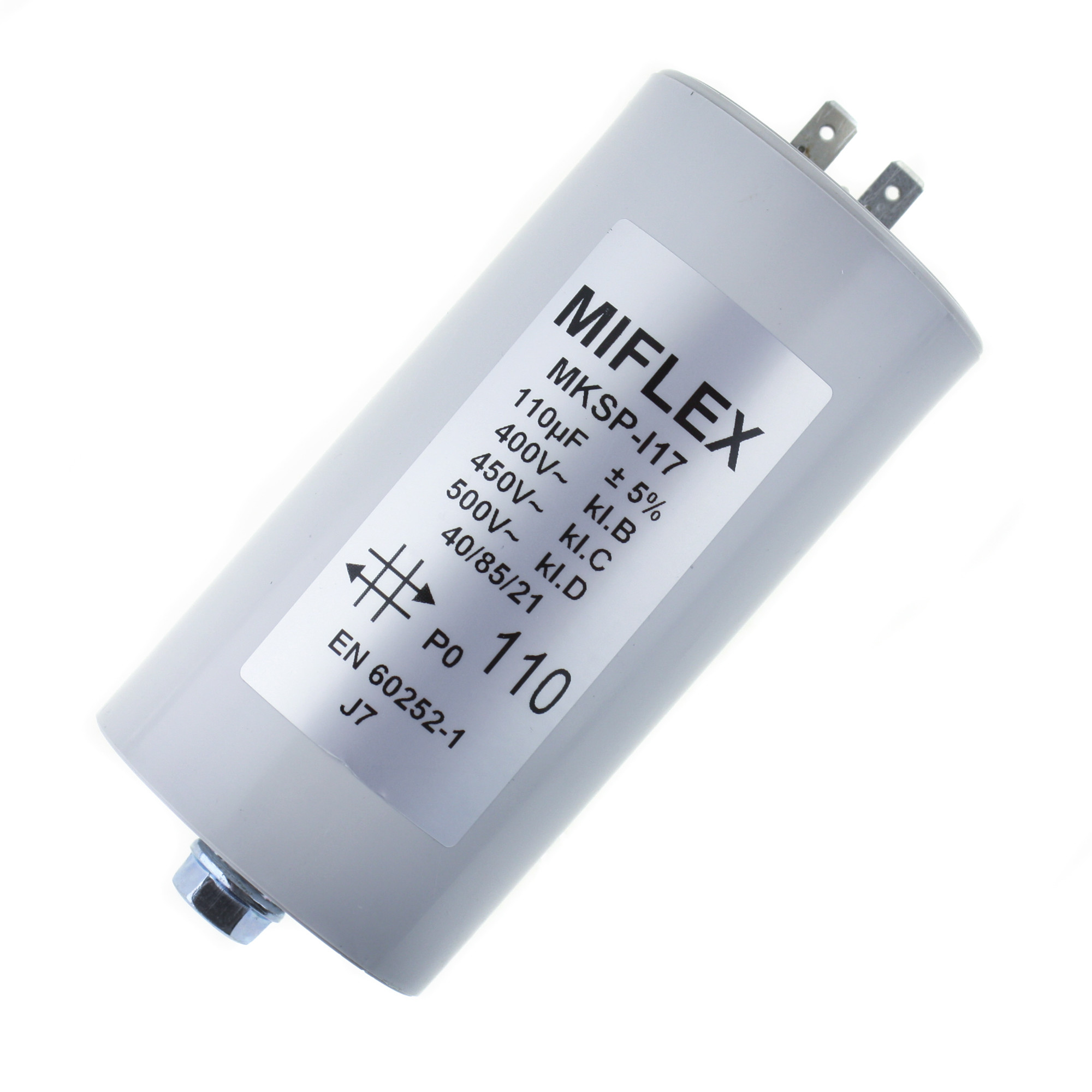 Motor Capacitor 110uF-400V, 60x119mm, flat connection [313443 ...