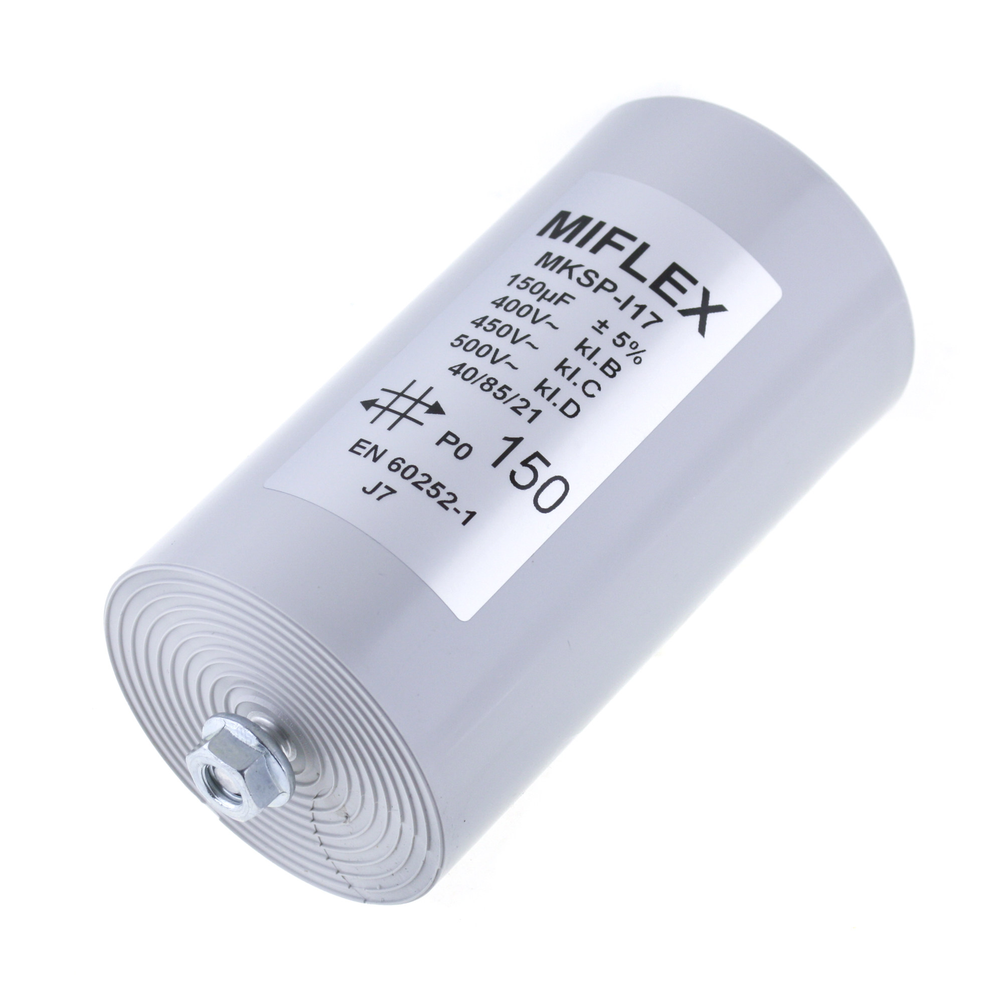 Motor Capacitor 150uF-400V, 65x119mm, flat connection