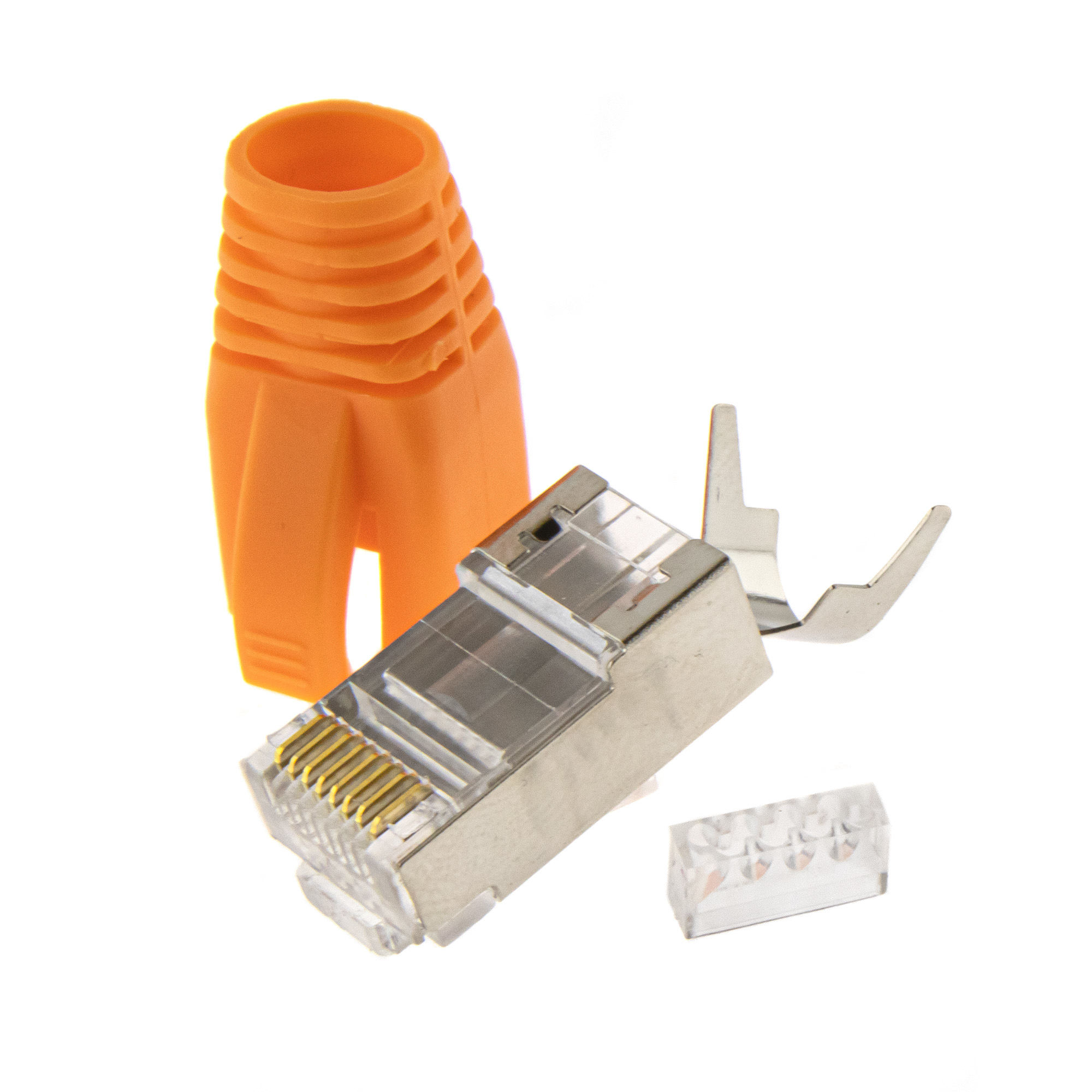 RJ45 connector + insertion aid + plug cap 10PCS - orange